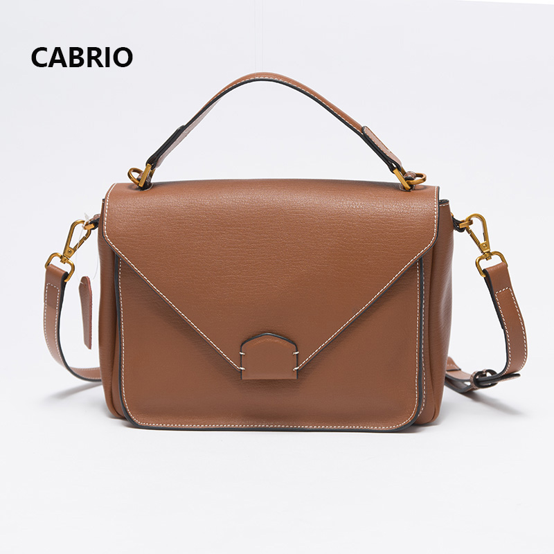 CABRIO Women Crossbody bags Genuine Leather Flap Small Messenger Bags For Ladies Women Handbags Button Hasp Bag Simple Pattern купить в Москве 2019