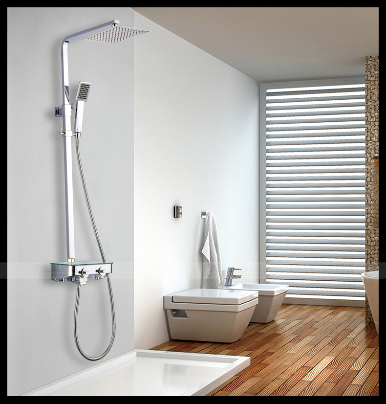 Shower Square Ultra Thin Bathroom Shower Set The Whole Lift European  Leading Big Shower Head ...