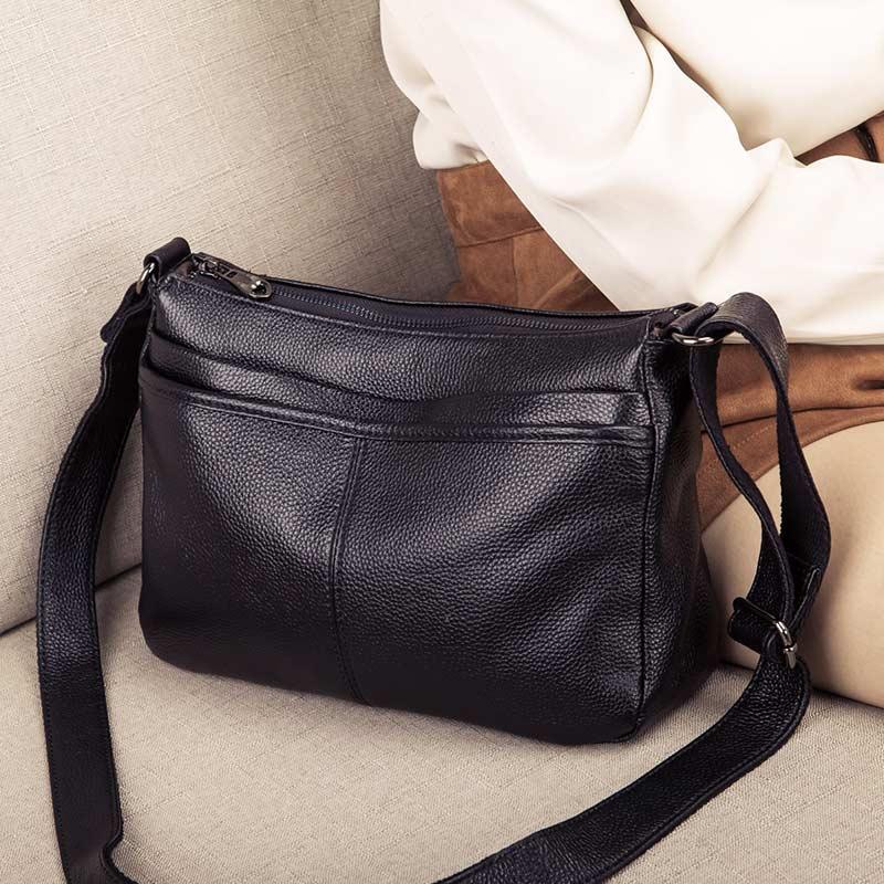 Bagaj ve Çantalar'ten Omuz Çantaları'de Hakiki Deri Crossbody Çanta kadınlar için Lüks Çanta Moda Bayan Alışveriş Tote omuzdan askili çanta Kadın Çanta postacı çantası'da  Grup 3