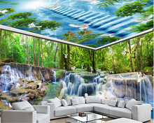 beibehang Eye-catching dream wallpaper waterfall water forest crane dove house background wall painting papers home decor