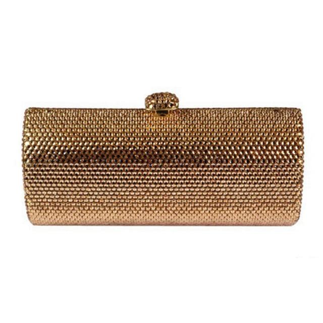 1b106f978f9 gold silver Crystal Rhinestones Evening bags Prom Handbag Clutch Purse  Bridal Wedding Shoulder Bags plain Metal Clutches wallet