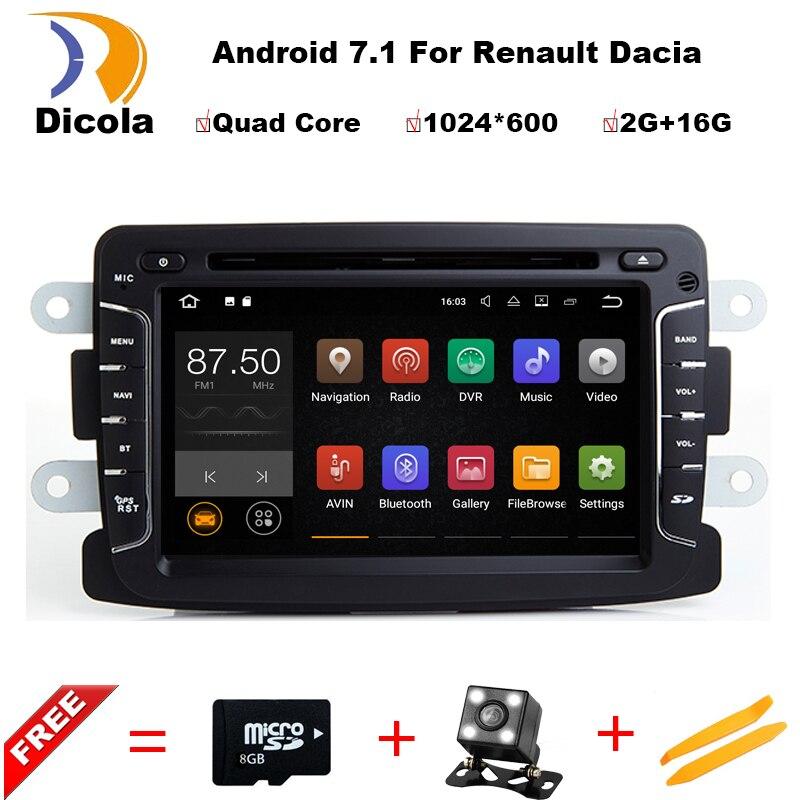 imágenes para 7.1.1 7 Pulgadas Reproductor de DVD Del Coche del androide Para Dacia/Sandero/Plumero/Renault/Captur/Lada/Xray 2 Logan 2 RAM 2G WIFI GPS de Navegación de Radio