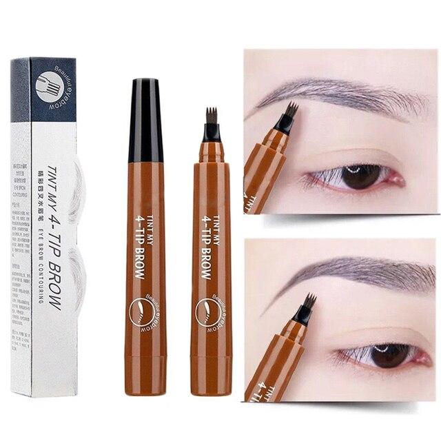 Long Lasting Microblading Eyebrow Pen Waterproof Fork Tip Eyebrow Tattoo Pencil Professional Fine Sketch Liquid Eye Brow Pencil
