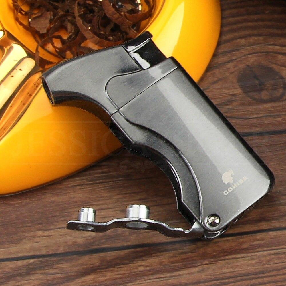 COHIBA Pocket Cigar Lighter Butane Gas Windproof 2 Flame Jet Torch Lighters Metal Smoking Cigarette Lighter W Cigar Punch Cutter