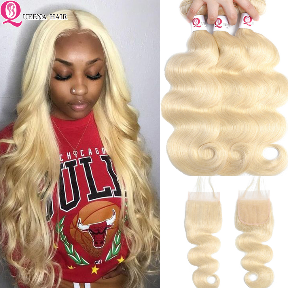 Cheap 613 Blonde Bundles With Closure Body Wave Peruvian Blond Human Hair Bundles With Closure Remy 613 Bundles With Closure