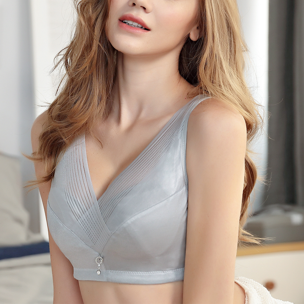 Women's Large size bra no steel ring full cup ultra-thin anti-sagging collection of breast milk big chest small bra image