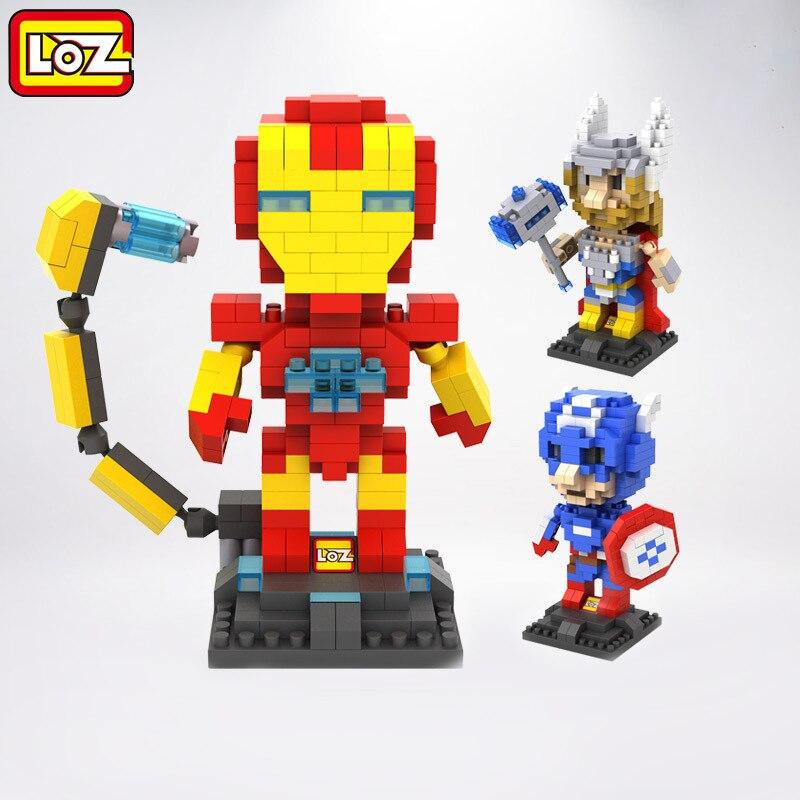 lozのおもちゃダイヤモンドブロックcapitaoアメリカアニメフィギュアブロックビルディングブロックアイアンマンプラスチックのおもちゃレンガのおもちゃ子供のためのギフト