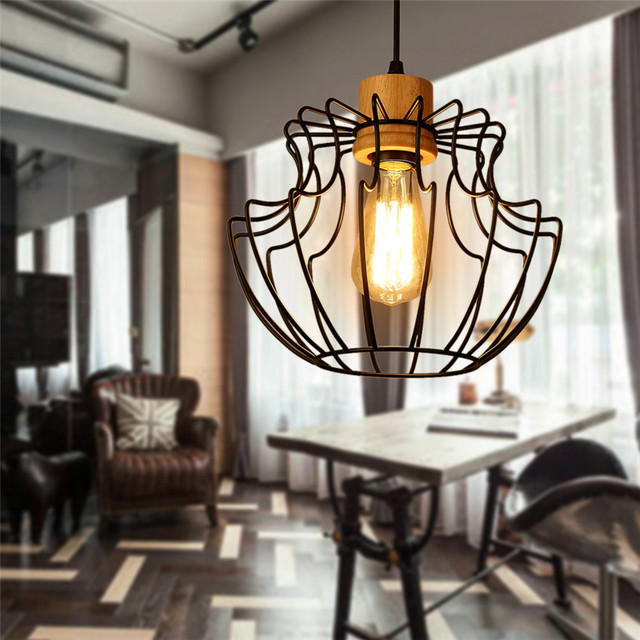 a58215d02c6 Retro indoor lighting Vintage Edison pendant light LED lights Iron Cage  lampshade Warehouse Loft Style Hanging Lights fixture