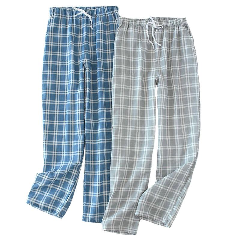 Spring And Summer New Sleep Pants Men's Gauze Cotton Simple Style  Plaid Trousers  Elastic Waistband Full Length Sleep Bottom