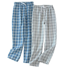 Trousers Sleep-Pants Plaid Cotton Summer Spring Waistband Gauze Elastic Simple-Style