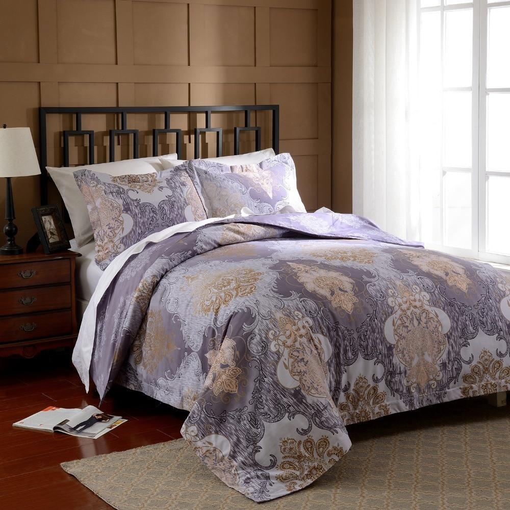 Solid Purple Quilt Cover Pillow Case King Queen Full Duvet Cover Sets 3Pcs