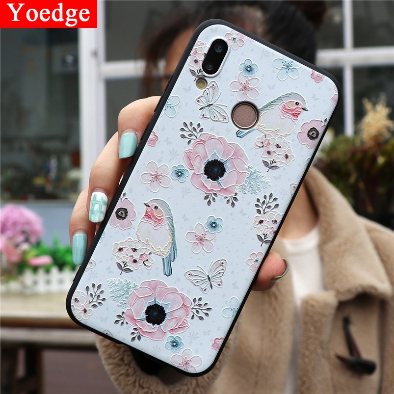 3D Flower Emboss Case For <font><b>Huawei</b></font> Y5 Y6 <font><b>Y7</b></font> Pro Prime Y9 <font><b>2018</b></font> 2019 Honor 6A 7A 7X 8A 8X 9 10 View 20 Lite 10i 20i Play TPU Fundas image