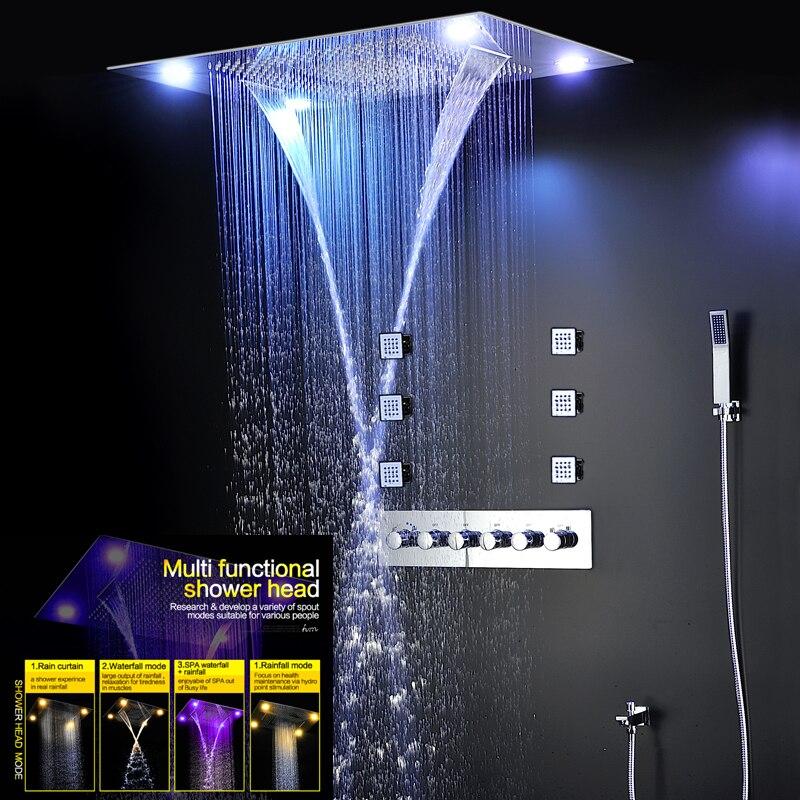 Grande douche de pluie salle de bains plafond électrique Led pomme de douche pluie cascade Kit de douche robinets avec 6 pièces Massage corps Spray