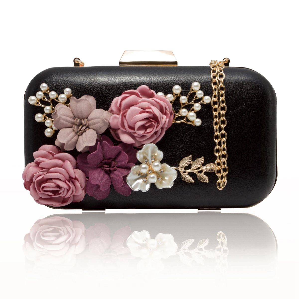 TFTP-Women Clutches Purses Bags Flower Leather Envelope Pearl Wallet Evening Handbag(Black)