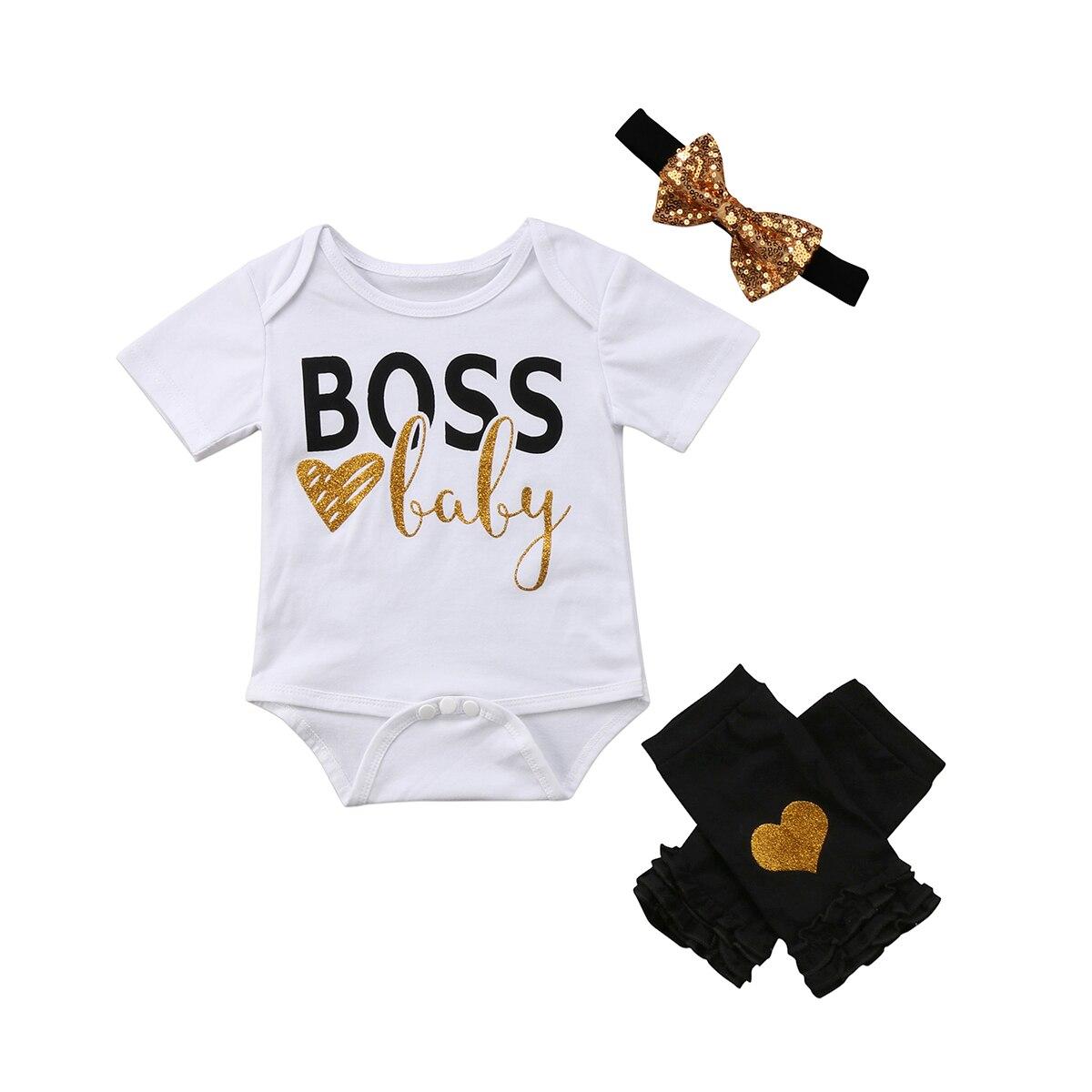 Fashion 3Pcs Newborn Baby Girls O-neck Short Sleeve Rompe Casual Jumpsuit + Pants Leggings Headband Outfits Set Costume