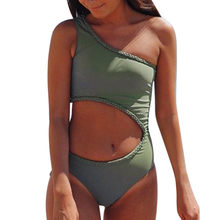 LIVA GIRL sexy women's army green monokini beach swimwear fashion bikini set push-up bra hollow one shoulder swimsuit girl(China)