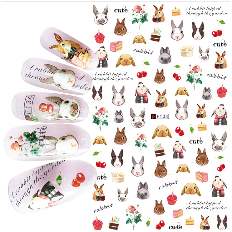 1pcs 3D Super Thin Nail Stickers Tips Nail Art Adhesive Decals Manicure Decoration Cute Rabbit Bunny Vintage Nail Wraps F134 стоимость