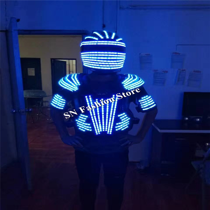L99 LED helmet ballroom dance led costumes mens robot dance clothes led suit led mask pa ...