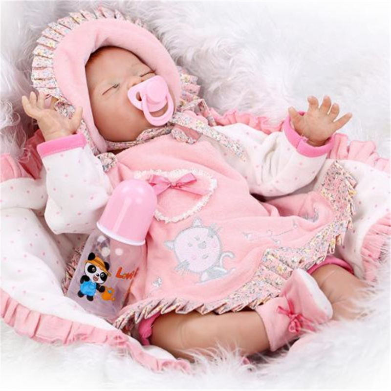 [SGDOLL] 2017 New  21 Lifelike Reborn Sleeping Baby Doll Lolita Dress Up w Pacifier Cushion Feeder 15110708 brand new smt yamaha feeder ft 8 2mm feeder used in pick and place machine