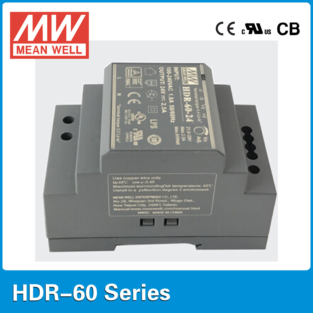 Original MEAN WELL HDR-60-24 24V 60W 2.5A meanwell step shape DIN Rail Power Supply original mean well hdr 100 24 3 83a 24v 92w meanwell ultra slim step shape din rail power supply dc output adjustable