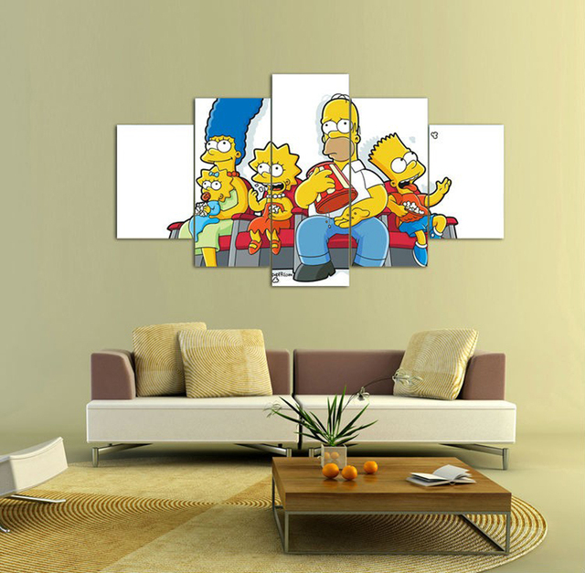 Modular Picture on wall Simpsons Cartoon Print art poster children\'s ...