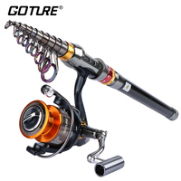 Goture Fishing Reel Rod Kit 4000 Series Metal Fishing Spinning Reel +1.8M 3.6M Telescopic Fishing Rod All for Fishing Combo Set