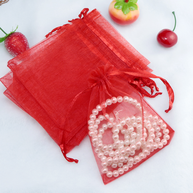 Hot Sale 100pcs/lot 7x9cm Red Organza Bag Small Jewelry Gift Packaging Bags Christmas Wedding Favors Candy Gift Bag Pouches