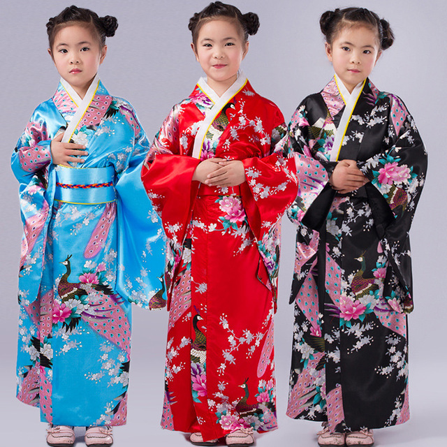 0282dcebc9 Child Floral Peacock Yukata Dress Girl Japanese Kimono Cosplay Costume Kids  Traditional Kimono Japones Haori Clothing