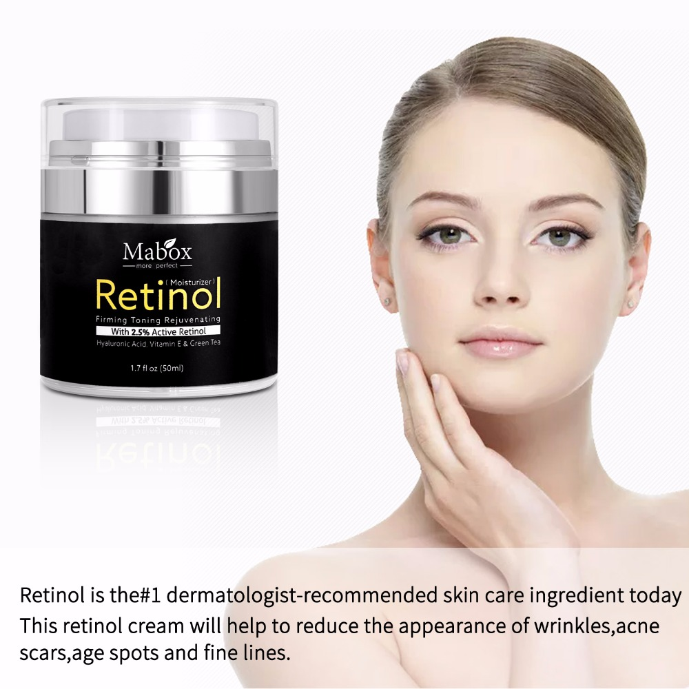 Mabox 50ml Retinol 2.5%Moisturizer Face Cream Hyaluronic Acid AntiAging Remove Wrinkle Vitamin E Collagen Smooth Whitening Cream 3