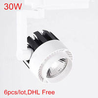 High quality 30W LED Tarck light AC86V 265V track spotlight LED rail spot light lamp COB LED Ceiling spotlight lighting 6Pcs