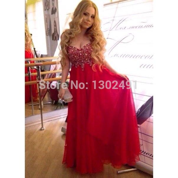 2015 Vestido De Festa Longo Vermelho Elegant Sweetheart Beaded A