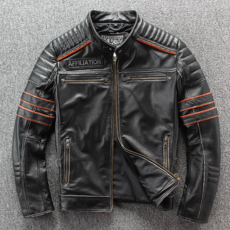 Image 3 - HARLEY DAMSON Vintage Black Men Embroidery Skulls Biker's Leather Jacket Plus Size 4XL Genuine Cowhide Slim Fit Motorcycle Coat-in Genuine Leather Coats from Men's Clothing