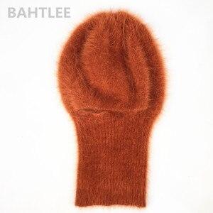 Image 5 - BAHTLEE masque de Ski dhiver, cagoule, Angora, lapin, écharpe tricoté, chauffe cou, casquette polaire, pour hommes ou femmes