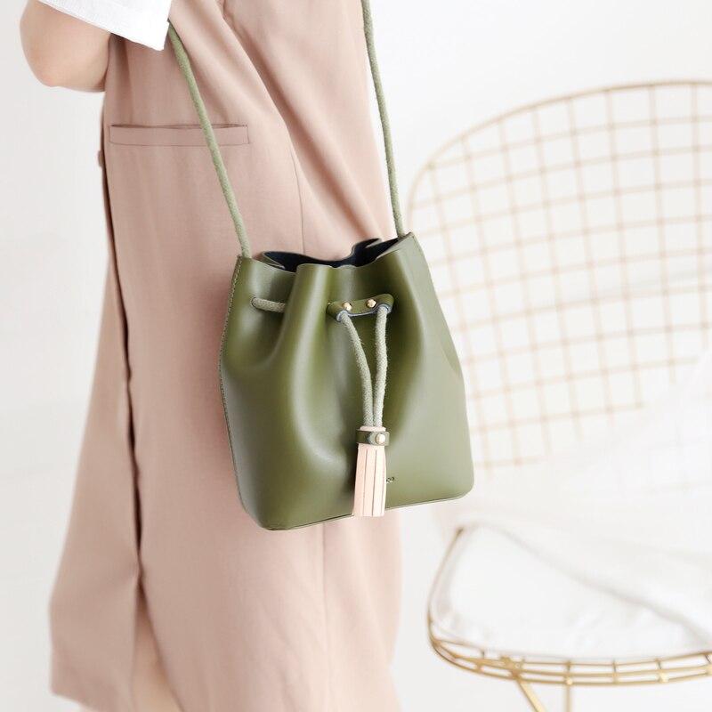 Genuine leather women's  messenger bucket bag drawstring cowhide girl's handbag one shoulder crossbody LY-0264