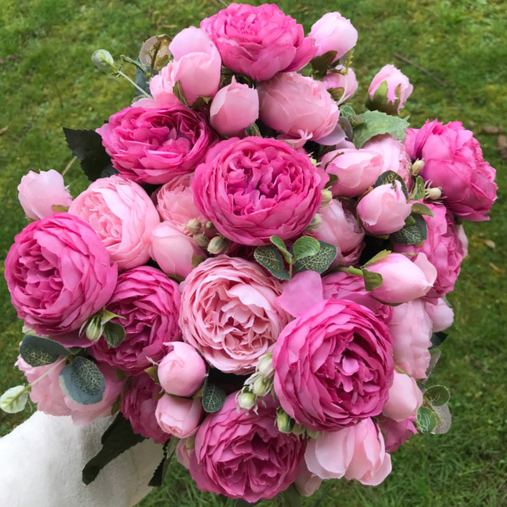 Results of top peony silk roses artificial flowers in hairstyle2018 beautiful and cheap silk rose peony artificial flower beautiful flores bouquet for wedding party home decor mariage fake flower izmirmasajfo
