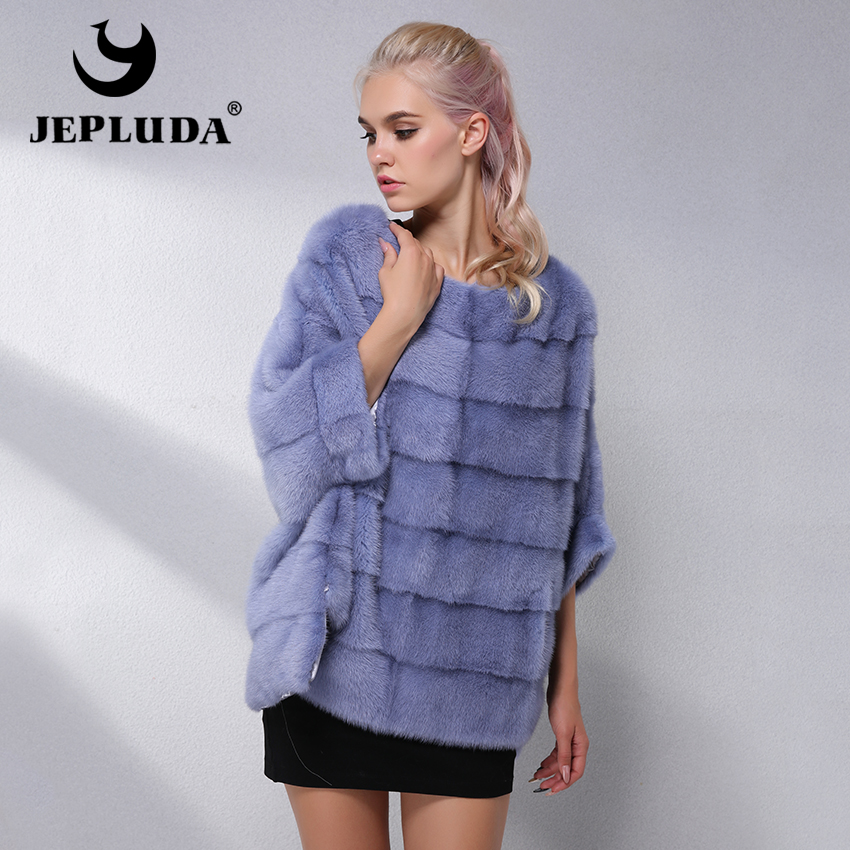 JEPLUDA Casual Natural Real Mink Fur Coat Women Winter Mink Fur Short Cloak Free Size O-Neck Mink Fur Jacket Women Real Fur Coat