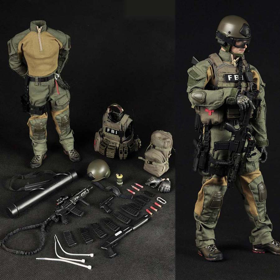 Mnotht 1/6 Male Solider FBI Clothes Model With Helmet Coat Pants Boots For 12in Action Figure Toys l30