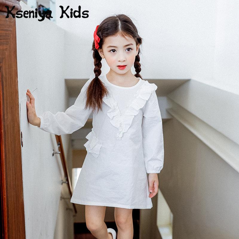 Kseniya Kids 2018 Spring New Children's Girls Dress Korean Pure Colour Cotton Lotus Leaf Edge Long Sleeve Girl Birthday Dress 2018 spring new korean girls cotton dot