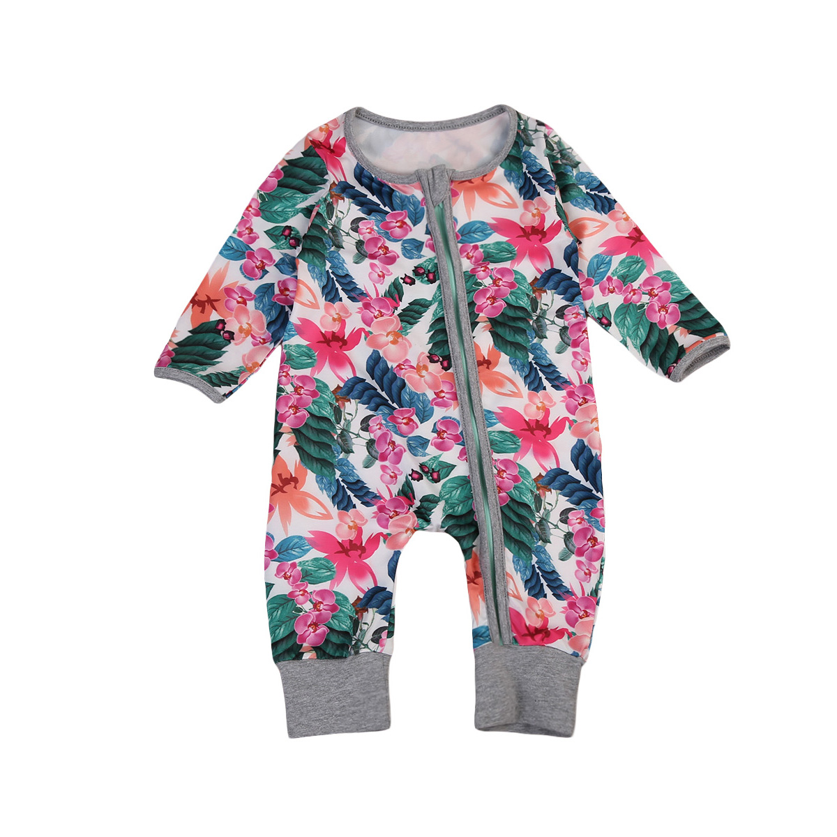 Pudcoco 0-24M Newborn Baby Girls Floral Long Sleeve Romper Zipper Jumpsuit Pants Clothes One-pieces