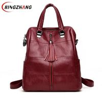 New Women Multifunction Backpack Leather Tassel Shoulder Bag Large Capacity Female School Bag Girls Travel Bag Mochila L8 125