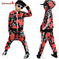 2016 New Brand Boys clothing set kids sports suit children tracksuit girls T shirt pants Floral Print Jacket Casual Coat clothes