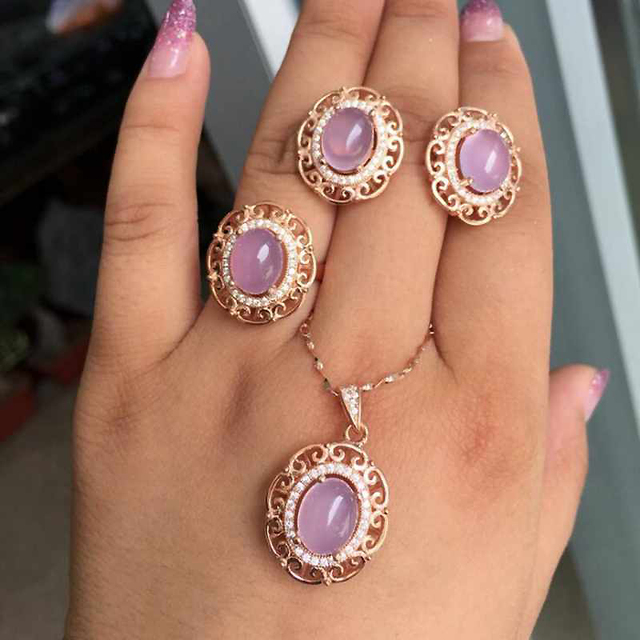 Natural Gemstone Jewelry Rose Quartz Rose Gold Color Women 925 Silver Jewelry Set Wedding Necklace/Earrings/Ring Set Gift YJS010
