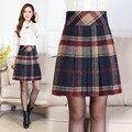 Lady Casual Lã Saia Moda Café Do Vintage Xadrez De Lã Saia Mãe Elegante Uma Linha de Saia Outono Inverno Plus Size 7XL Saia