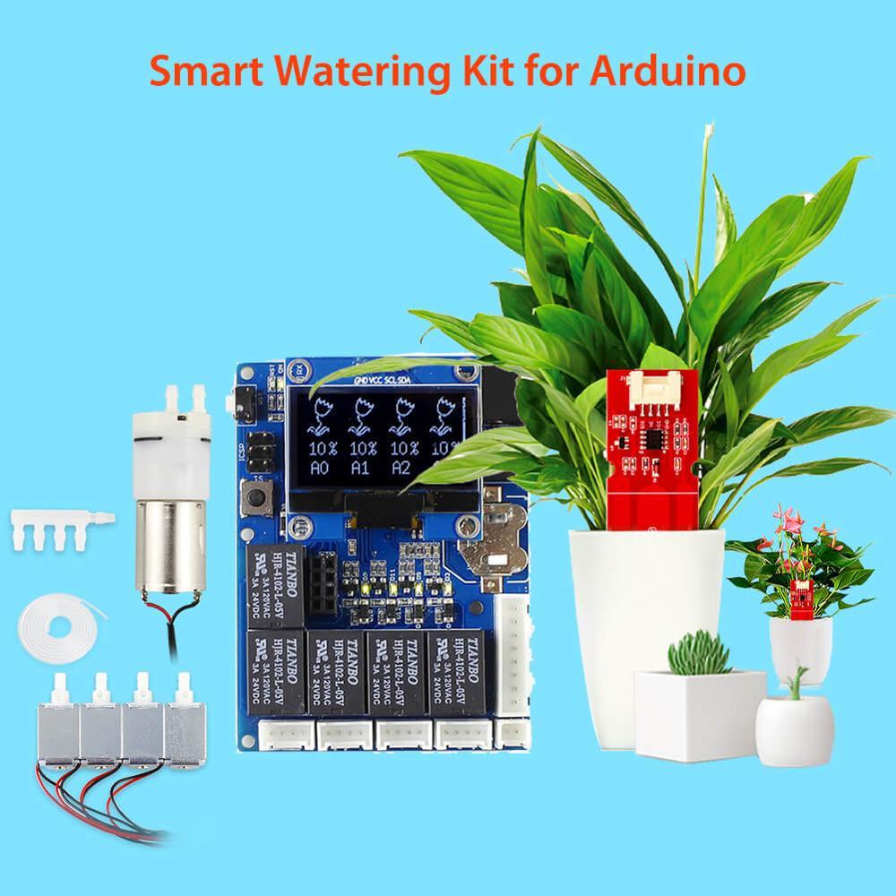 Elecrow Kit d'arrosage automatique intelligent d'usine pour Arduino électronique jardin eau usine bricolage Kits capteur d'humidité du sol capacitif