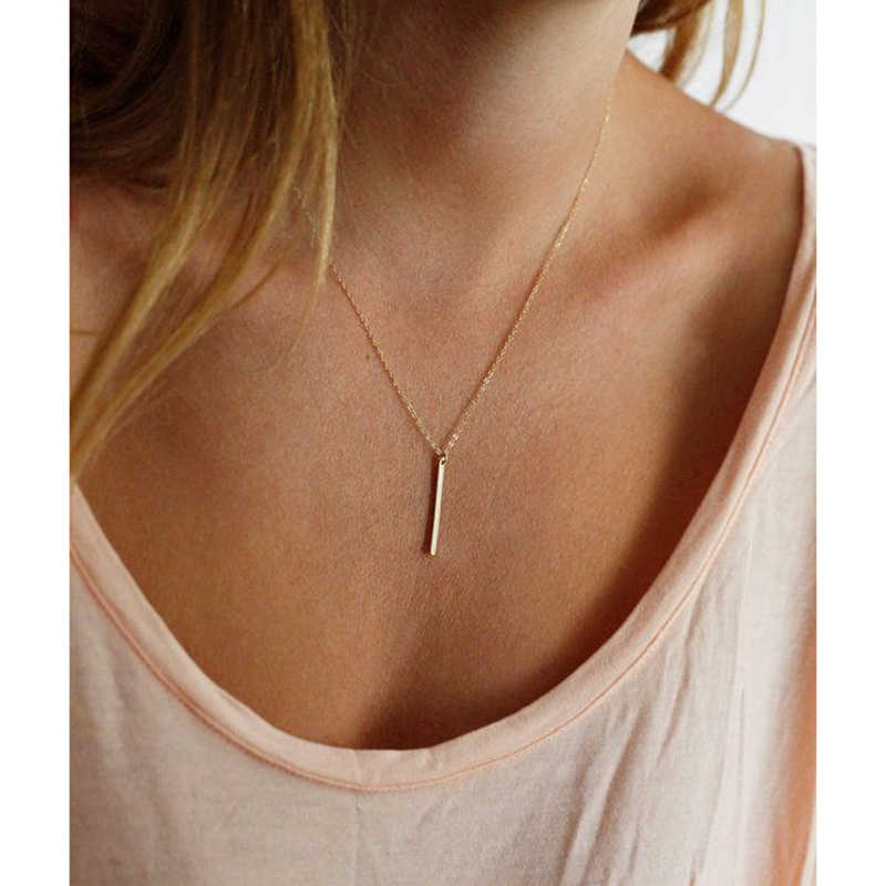 Zuowen Trendy Jewelry Thin Square  Necklace Gold Silver Stick Pendant Necklace For Women Gifts XL262