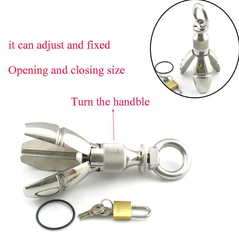 650g Big Expansion Stainless Steel Stretching Anal Dilator Plug W Lock Locking Butt Plug Anal Extension