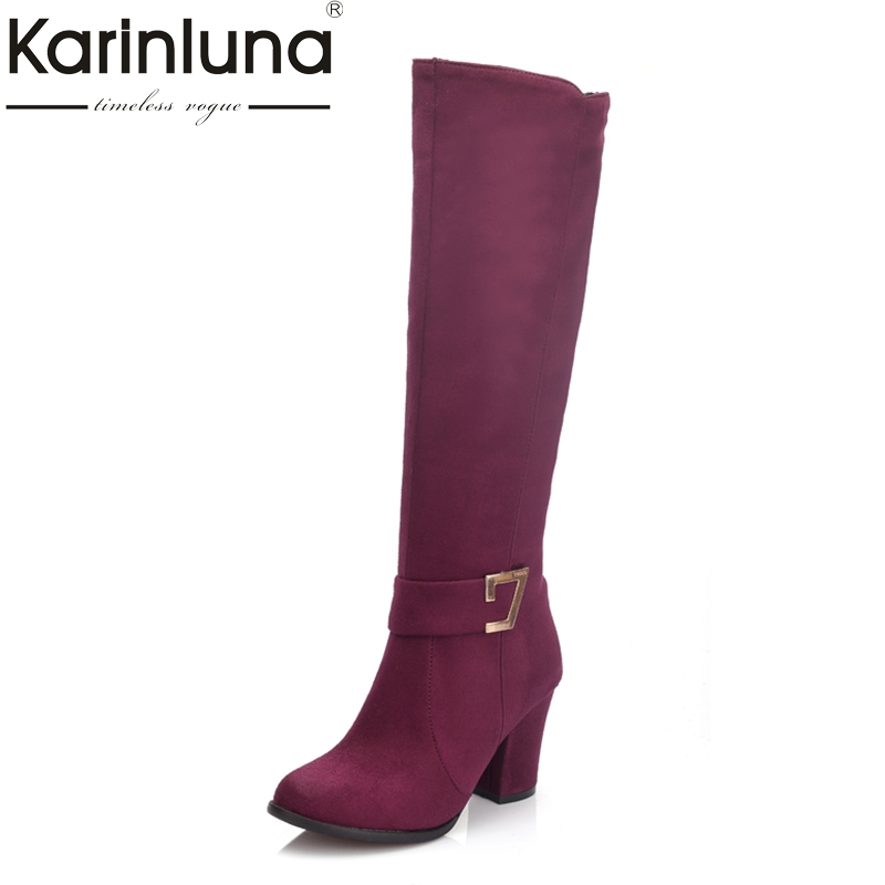 KARINLUNA Large Size 32-48 Fashion High heels riding Boots fashion autumn Winter Boots Zip up Women Shoes Woman knee-high boots