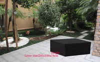 Black Color Durable Fabric Cover Outdoor Combination Sofa Set 315x160x74cm Waterproofed Dust Proofed Garden Furniture Cover