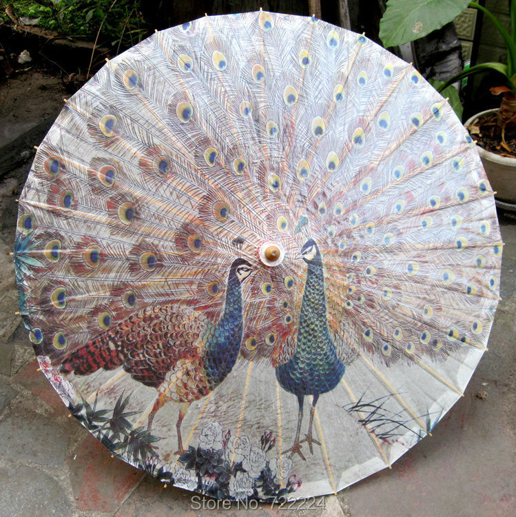 Dia 84cm Chinese Traditional Handmade Peafowl Flaunting its Tail Umbrella Waterproof Parasol Dance Props Oiled Paper Umbrella dia 84cm chinese handmade craft umbrella arya avalokiteshvara painting parasol decoration gift dance props oiled paper umbrella