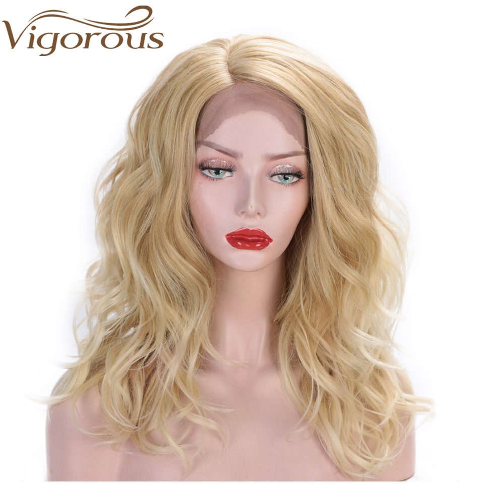 Vigorous Blonde Wavy Wig Middle Length Synthetic Lace Front Wigs For Women Natural Hair Heat Resistant Fiber